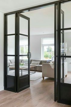 Loving interior windows and doors these days. What a great way to close off some private space while still having light throughout your house. Interior Windows, Interior Barn Doors, Interior And Exterior, Exterior Doors, House Doors, Internal Doors, Windows And Doors, Home And Living, Living Room