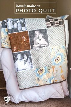 Cool DIY Photo Projects and Craft Ideas for Photos - Photo Quilt - Easy Ideas for Wall Art, Collage and DIY Gifts for Friends. Wood, Cardboard, Canvas, Instagram Art and Frames. Creative Birthday Ideas and Home Decor for Adults, Teens and Tweens Patchwork Quilting, Quilting Tips, Quilting Tutorials, Quilting Projects, Sewing Projects, Foto Quilts, Cadeau Grand Parents, Diy Instagram, Fabric Crafts