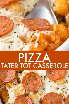 Pizza Tater Tot Casserole - This comforting casserole has three layers of goodness. Use your favourite pizza toppings to create the perfect family meal. Easy Dinner Recipes, New Recipes, Easy Meals, Cooking Recipes, Favorite Recipes, Frugal Recipes, Cooking 101, Kraft Recipes, Family Recipes