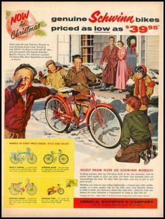 Vintage Christmas Ad ~ Schwinn Bicycles ©1960