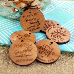 Amaze your wedding guests with our unique engraved round wooden gift tags. A personalised touch cant be beaten, and there is no better way than with engraving the bride and grooms names, thankyou messages or even guest names. Each tag is professionally laser cut and engraved from 4mm thick cherry timber and finished in a beautiful satin lacquer. Each tag is supplied with a raffia gift tie. #GiftwareDirect #gift tag #engraved #personalised #bamboo