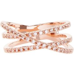 Accessorize Rose Gold Crystal Cross Over Eternity Ring ($33) ❤ liked on Polyvore featuring jewelry, rings, red gold ring, eternity ring, crystal stone rings, crystal rings and rose gold jewellery