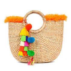 Beach Basket Fringe Tassel Pom Pom Orange