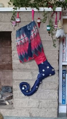 Luxury Christmas jester stocking to conceal that special gift: Blue/red