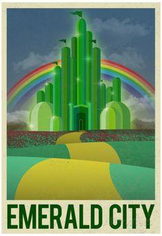 Emerald City Retro Travel Poster Póster