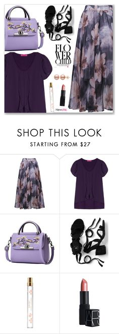 """Newchic Anniversary SALE"" by arohii ❤ liked on Polyvore featuring Marc Jacobs, NARS Cosmetics, vintage, pearl, pearlearrings and Floralskirts"