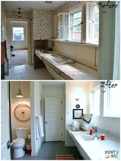 Hunt & Host Home Tour: Boy's Bathroom Before and after pictures of a dated bathroom to sleek and fresh. DIY artwork, gray herringbone tile and pops of color! www.huntandhost.com
