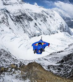 Fancy equipment: To perform the highest BASE jump in history, Rozov trained for two years and constructed a special winged suit