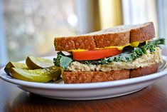 the veggie stand-in for tuna/chicken salad on sandwiches: chickpea salad sandwiches! Finally a veg. lunch solution.
