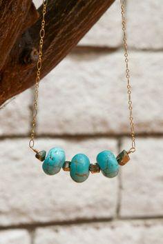 Turquoise and pyrite by PanachebyAmanda on Etsy, $32.20