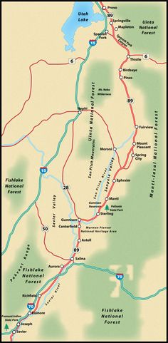 US Route Montpelier To Jackson Road Trip Guide Map Road Trip - Us route 89 map
