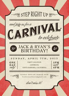 Carnival Invite // great idea for childrens birthday party invitation