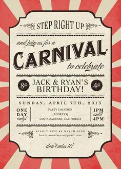 Carnival Invite // great idea for childrens birthday party invitation