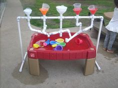 Children water play toddlers sensory, pair up with a PVC water desk, too! Children water play toddlers sensory, pair up with a PVC water desk, too! Water Play For Kids, Kids Outdoor Play, Outdoor Play Spaces, Outdoor Games, Pvc Pipe Projects, Projects For Kids, Diy For Kids, Crafts For Kids, Summer Crafts