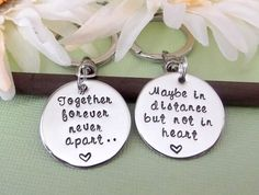 Long Distance Relationship Keychain Set- Together Forever, Never Apart- Best Friend Key Chains- Deployment Key Chains on Etsy, $25.00