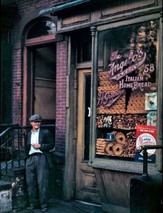 New York, 1940s - Retronaut  ~~~Italian bake shop below Canal St. 58 Mulberry St. New York (1942)