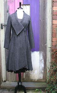 BOHEMIA LONG FITTED PANELLED LAGENLOOK BOILED WOOL COAT ASYMMETRIC COLLAR GREY | eBay