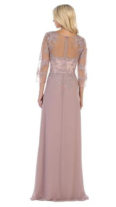 May Queen - MQ1637 Illusion Quarter Sleeve Appliqued Sheath Gown – Couture Candy Evening Gowns With Sleeves, Long Evening Gowns, Dresses With Sleeves, Sleeve Dresses, Illusion, Designer Evening Gowns, Mother Of The Bride Gown, Perfect Prom Dress, Prom Dresses Online