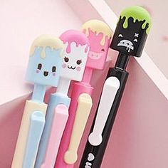 Icy Pop Pens, The Kawaii Notebook. I want the green and black one Kawaii Pens, Kawaii Cute, Goodies Manga, Kawaii Stationery, Kids Stationery, Cute Pens, Cute Stationary, Cute School Supplies, Kawaii Shop