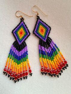 Rainbow multi color seed bead earrings