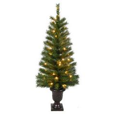 4-ft Pre-Lit Porch Trees with 50 Clear Lights- Set of 2