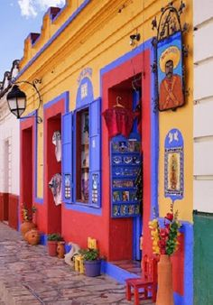 """travelandseetheworld: """"Colorful Storefront - Mexico Travel and see the world """" Mexican Colors, Mexican Style, Colourful Buildings, Colorful Houses, Mexican Designs, Shop Fronts, Mexico Travel, House Colors, Facade"""