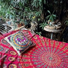 Indian Queen Red Peacock Hippie Ethnic Bohemian Psychedelic Mandala Handmade Tapestry with Exclusive Bestseller eBook