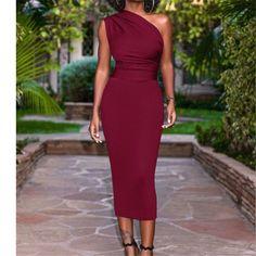 One Shoulder Elegant Slim Dress – Tomscloth Sexy Dresses, Beautiful Dresses, Evening Dresses, Fashion Dresses, Formal Dresses, Classy Dress, Classy Outfits, Elegant Dresses Classy, Rock Chic