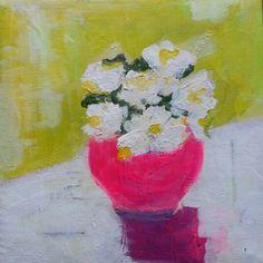 Art kleur bloemetje painting 20 x 20 cm