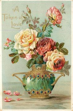 "Token of Love~Jewel Studded Jade Vase~Rose Bouquet~Emboss~TUCK ""Floral Missives"" Vintage Rosen, Art Vintage, Vintage Artwork, Vintage Cards, Vintage Postcards, Vintage Prints, Art Floral, Flower Images, Flower Art"