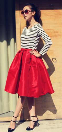 Red Midi Skirt & Striped Shirt Cute skirt the top looks too casual for the skirt though
