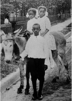 Two girls riding a donkey lead by boy by Black History Album, via Flickr