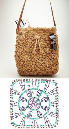 Diy Crochet Granny Square, Sac Granny Square, Granny Squares, Free Crochet Bag, Crochet Market Bag, Crochet Bags, Crochet Leaf Patterns, Crochet Motifs, Crochet Handbags