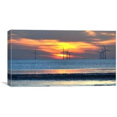 Canvas print of an image of the pretty windfarm at anthony gormleys another place at sunset Art For Sale, Art Pieces, Canvas Prints, Silhouette, Sunset, Places, Pretty, Outdoor, Image