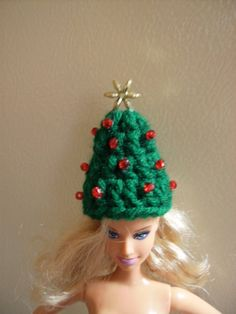 Free Fashion Doll Christmas Tree Hat Crochet Pattern - Orble