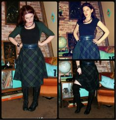 Craft, Thrift, or Die: I Like Plaid Now: part 1; half-assed skirt taking in, vintage