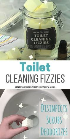 DIY Toilet Cleaning Fizzies with essential oil {aka toilet bombs) - cleans, freshens, scrubs, removes stains, deodorizes, and disinfects. made with lemon essential oil #essentialoilrecipes #toiletbomb #naturalDIY #DIYessentialoil #essentialoilcleaning #lemonessentialoil...