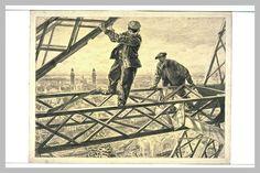Deux Ouvriers sur les fermes en fer de la Tour Eiffel (Exposition Universelle de 1900) de Paul Renouard (1845-1924), dessin au fusain et à la gouache, 53,6 x 72,2 cm, Musée du Louvre, Département des Arts Graphiques à Paris.
