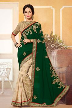 Sari with Embroidered Pallu presented by Andaaz Fashion like Beige Red Georgette Jacquard Saree with Maroon Silk Blouse. Embellished with Embroidered, Zari, Round Neck Blouse, Short Sleeve, and Dark Green Georgette Pallu, Georgette Jacquard Lining Skirt with Raw Silk Blouse. This is perfect for Party, Wedding, Festival.  http://www.andaazfashion.us/womens/sarees/view/best-seller-saree