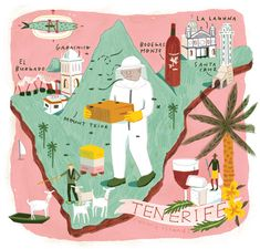 Tenerife Map for Jamie Magazine illustrated by Lindsey Balbierz