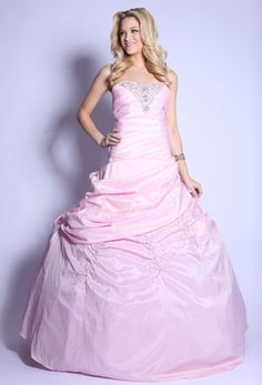 Strapless Rhinestone Top Baby Pink Satin Pinned Princess Ball Gown $297.99