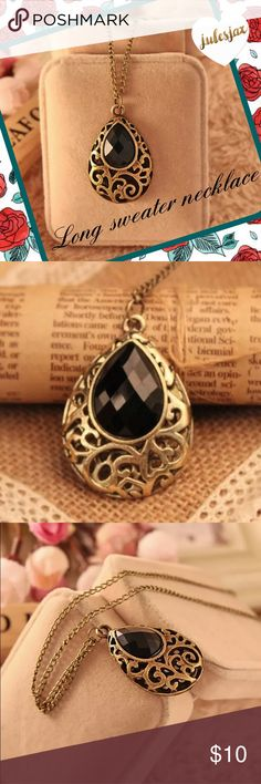 Long romantic sweater necklace NWT boutique item.  Black drop shaped stone on a antiqued gold color long chain.   Material: Crystal Metal: Alloy with Gold Plated Size: Length of chain is 25.98inch; Pendant size 2.5cm*4cm Jewelry Necklaces