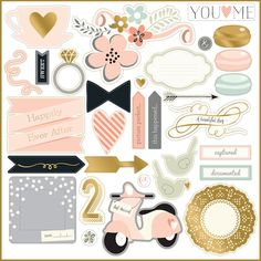 My Mind's Eye - Fancy That Collection - Blush - 12 x 12 Chipboard Stickers with Foil Accents - Elements at Scrapbook.com
