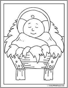 Fuzzy has a really cute and simple Christmas coloring picture of Baby Jesus in the crib. He looks so pleasant and so peaceful. Nativity Coloring Pages, Jesus Coloring Pages, Baby Coloring Pages, Coloring Pages To Print, Coloring For Kids, Colouring, Merry Christmas, Christmas Bible, Christmas Colors