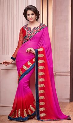 Give a unique sheen to your overall appearance with this scarlet and pink color shade georgette saree. The ethnic butta, lace, resham and sequins work within saree adds a sign of beauty statement for the look. Upon request we can make round front/back neck and short 6 inches sleeves regular sari blouse also. #NewBeautifulLookFancySari