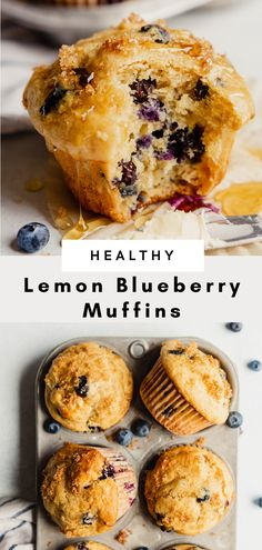 The BEST lemon blueberry muffin recipe—tender, moist and bursting with blueberries and lemon. Made whole-wheat, with yogurt, olive oil and honey. Healthy Blueberry Recipes, Healthy Muffin Recipes, Healthy Muffins, Healthy Sweets, Healthy Baking, Healthy Blueberry Desserts, Healthy Snacks, Whole Wheat Blueberry Muffins, Blueberry Protein Muffins