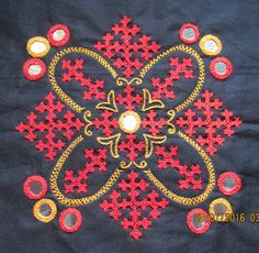 My craft works: Kutch work motif and a cross stitch Ta..da