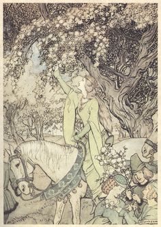 How Queen Guinevere Rode a-Maying into the Woods and Fields Beside Westminster ~ Arthur Rackham