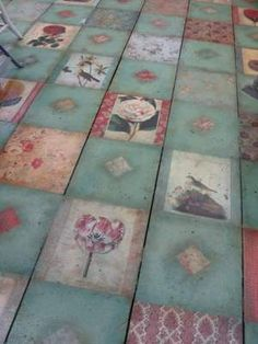 This is a decoupaged floor... love this idea. Not the same style, but the idea!