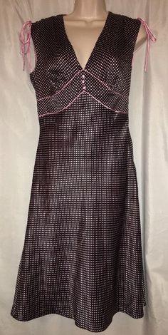 Laundry By Shelli Segal Dress Black Pink Polka Dot Size 4 100% Silk Rockabilly…